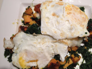 Eggs loaded with spinach and other veggies