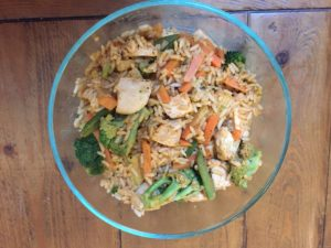 Left over chicken stir-fry adds vegetables to lunches