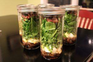 Spinach Mason Jar Salads with Bacon. I say again; bacon.