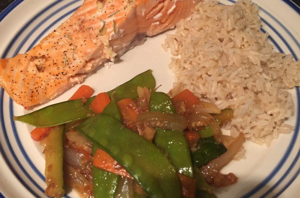Teriyaki Salmon with Veggies & Brown Rice
