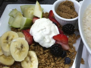 Fuel with snacks like fruit and granola