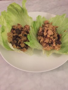 Fill the lettuce with the chicken mixture