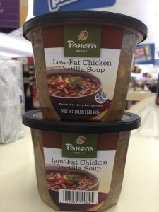 Panera chicken tortilla soup is a great low-fat option