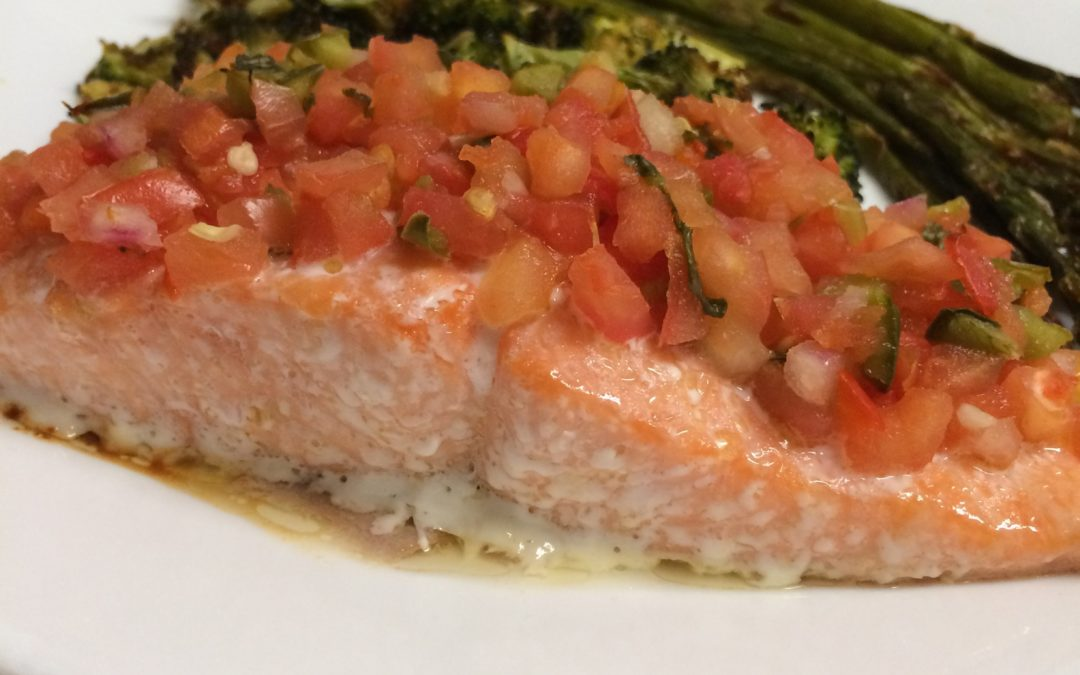 Roasted Salmon with Salsa and Roasted Vegetables