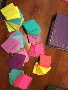 Colorful flashcards and staying organized with binders and notebooks is how I stayed on track while taking rigourous classes to become a dietitian.