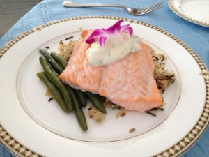Fish is heart healthy photo of salmon on white plate