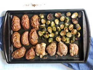one pan roasted chicken and potatoes sheet pan dinners