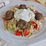 Greek Orzo Salad with Lamb Meatballs and Tzatziki