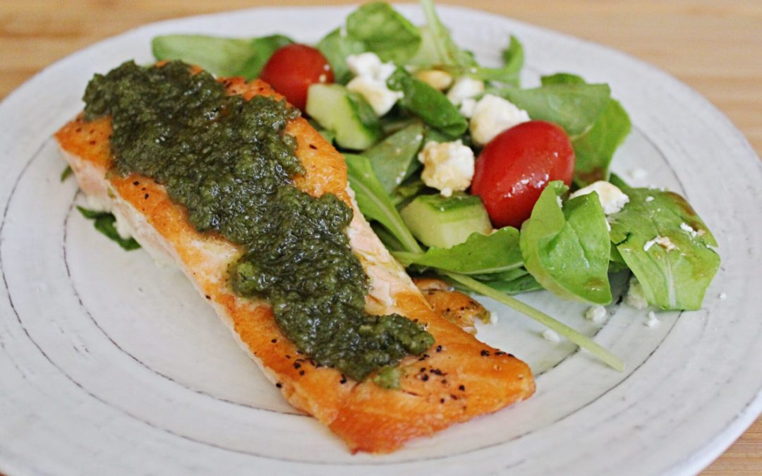 Salmon with Walnut Pesto