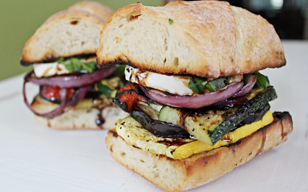Grilled Veggie Sandwich with Mozzarella and Balsamic Glaze