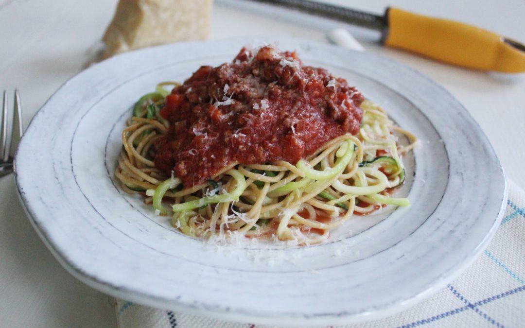Whole Grain Spaghetti with Zucchini and Ragu Sauce