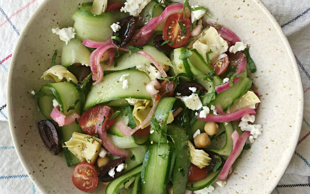 Cucumber Noodle Greek Salad