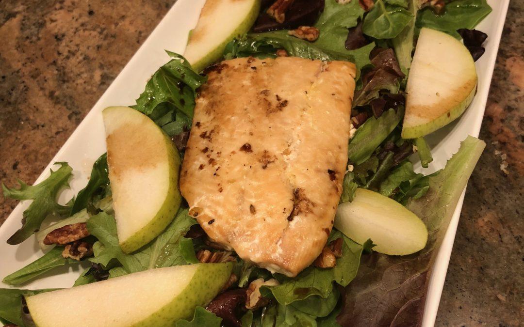 Pear and Walnut Salmon Salad