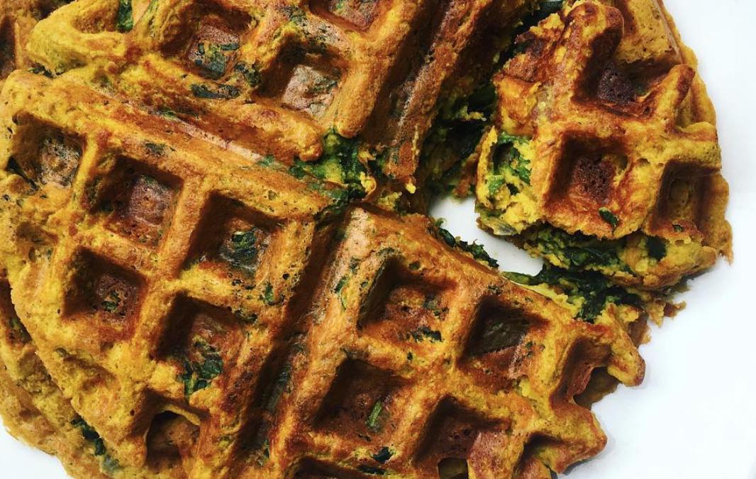 Butternut Spinach Waffles