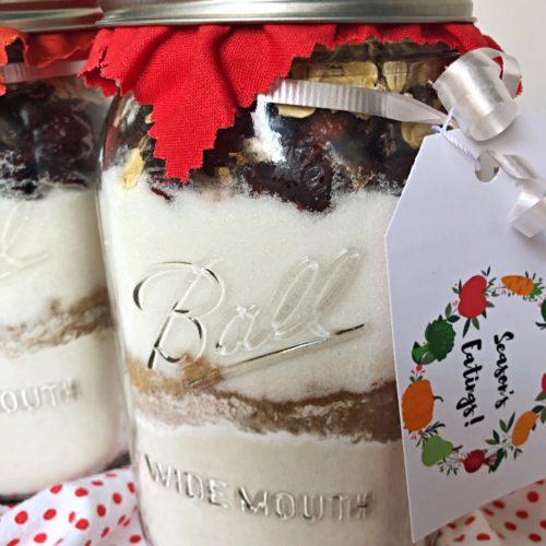 pumpkin cranberry bread gift jar
