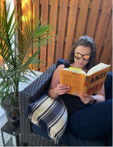 Liz Kerr reading diet culture book